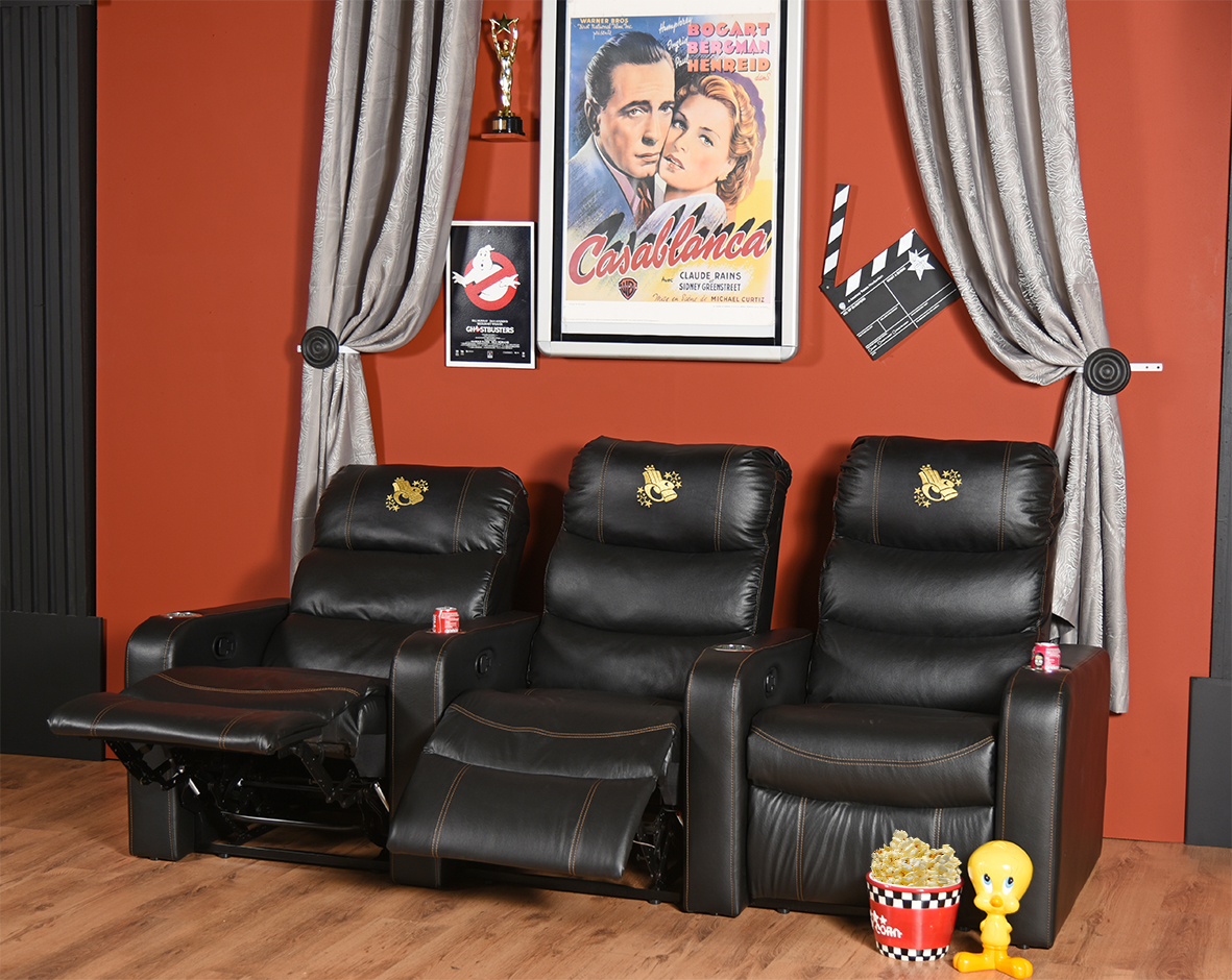 Lounge Suites Home Theater Recliner Chair Modern Foam Leather Look Wood Recliners Theater
