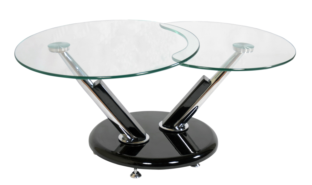 Modern Swivel Coffee Table.Jupiter Glass Swivel Coffee Table