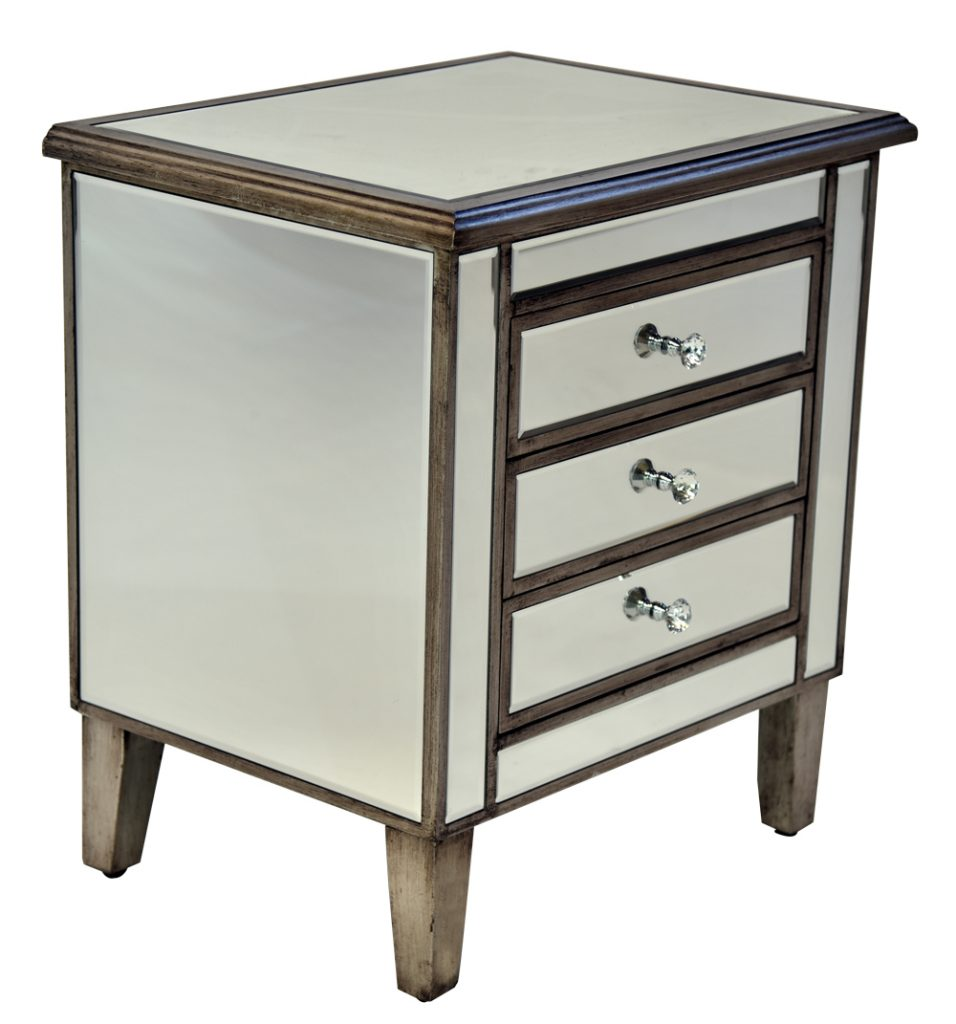 Mirrored pedestal 3 drawer mirrored bedside tables for Cheap bedroom furniture za