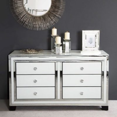 Bianca Mirror Chest of 6 Drawers