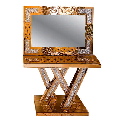 Glass Console Table & Crushed Diamond Mirror
